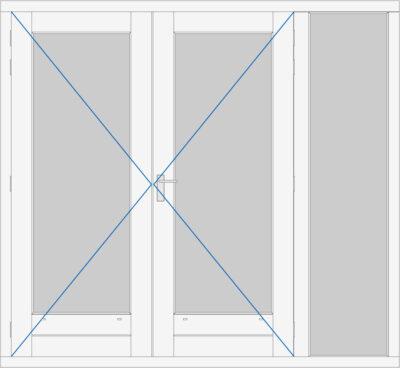 kozijn met dubbele deur en zijlicht