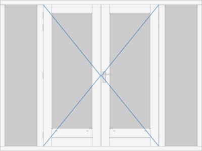 kozijn met dubbele deur en 2 zijlichten