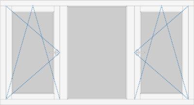 kozijn met 2 draai- kiepramen en een vast raam