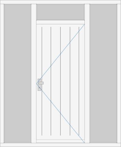 Kozijn met voordeur, 2 zijlichten en een bovenlicht