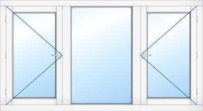 Kozijn met 2 buitendraaiend ramen en vast glas