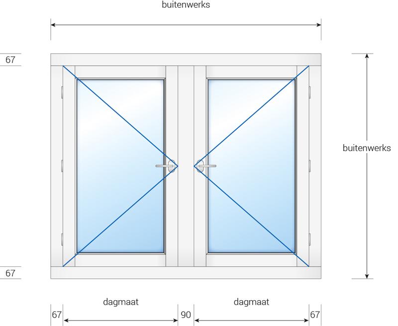 kozijn met 2 buitendraaiende ramen