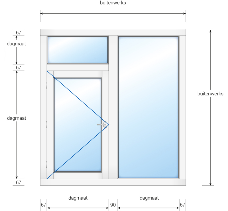 kozijn met buitendraaiend raam, bovenlicht en zijlicht