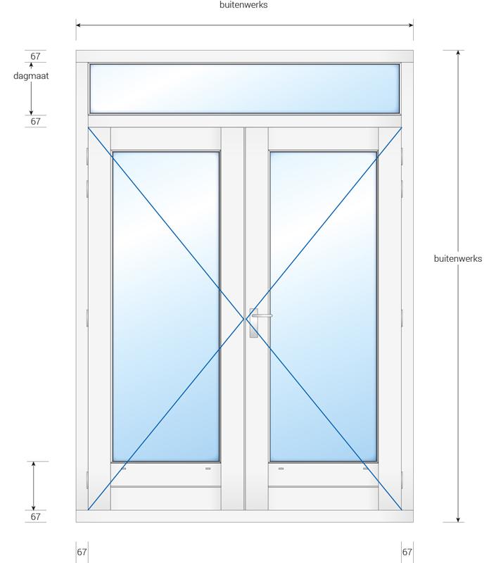 Kozijn met dubbele deur en bovenlicht