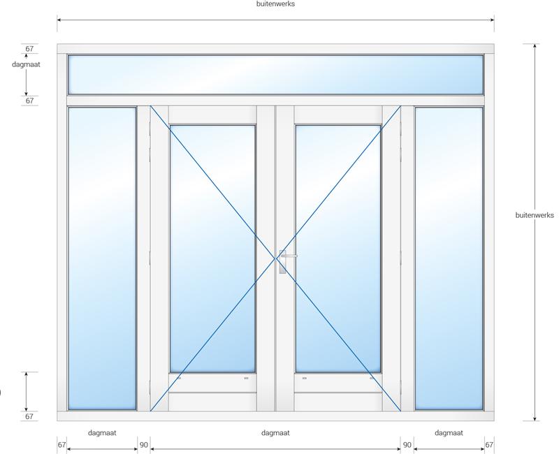 Kozijn met dubbele deur, 2 zijlichten en een bovenlicht