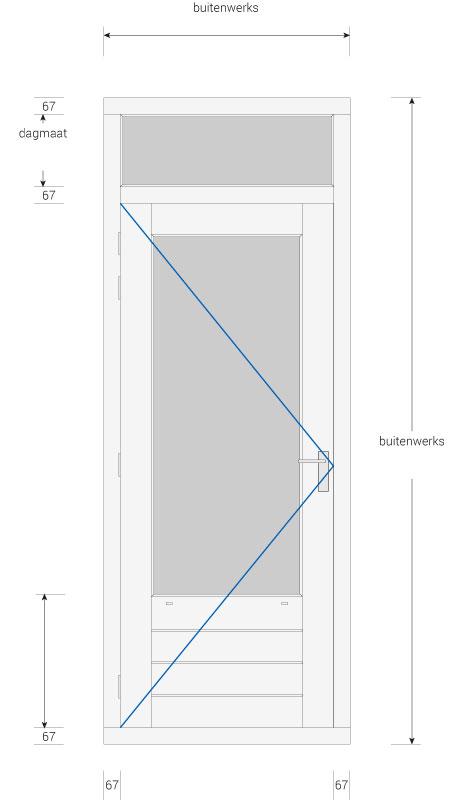 Vaak Kozijn met deur en bovenlicht - Kozijnenbesteller ZD11