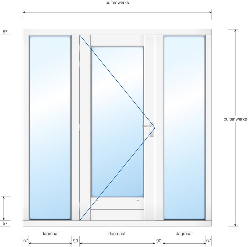 Kozijn met deur en 2 zijlichten