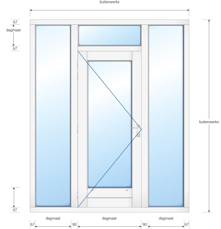 Kozijn met deur en 2 zijlichten en een bovenlicht