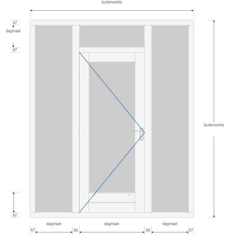 Favoriete Kozijn met deur en 2 zijlichten en een bovenlicht - Kozijnenbesteller RN86