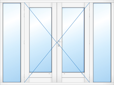 Kozijn dubbele deur en zijlichten