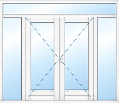 Kozijn met dubbele deur zijlicht en bovenlicht