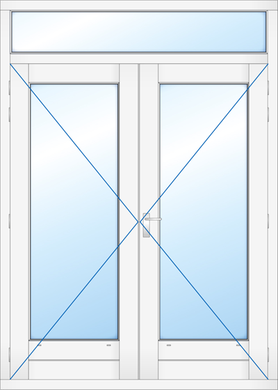 Kozijn met dubbel deur en bovenlicht