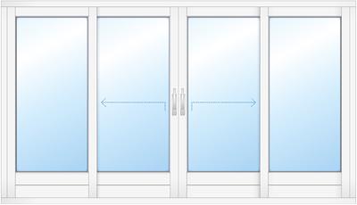 Schuifpui met dubbele deur