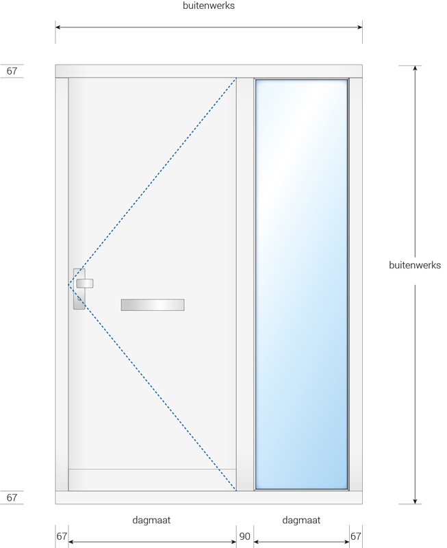 Kozijn met voordeur en zijlicht