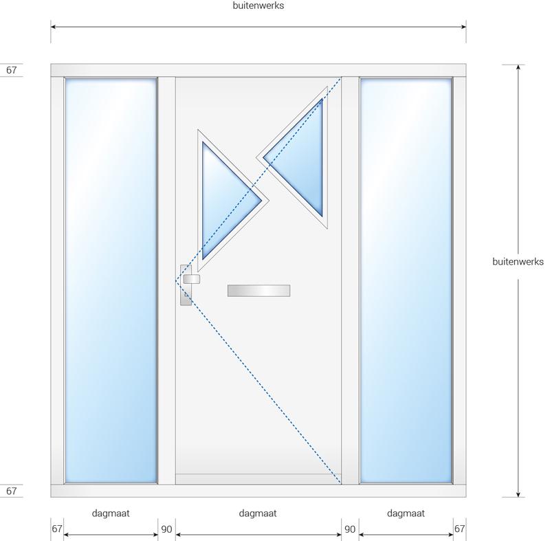 Kozijn met voordeur en 2 zijlichten